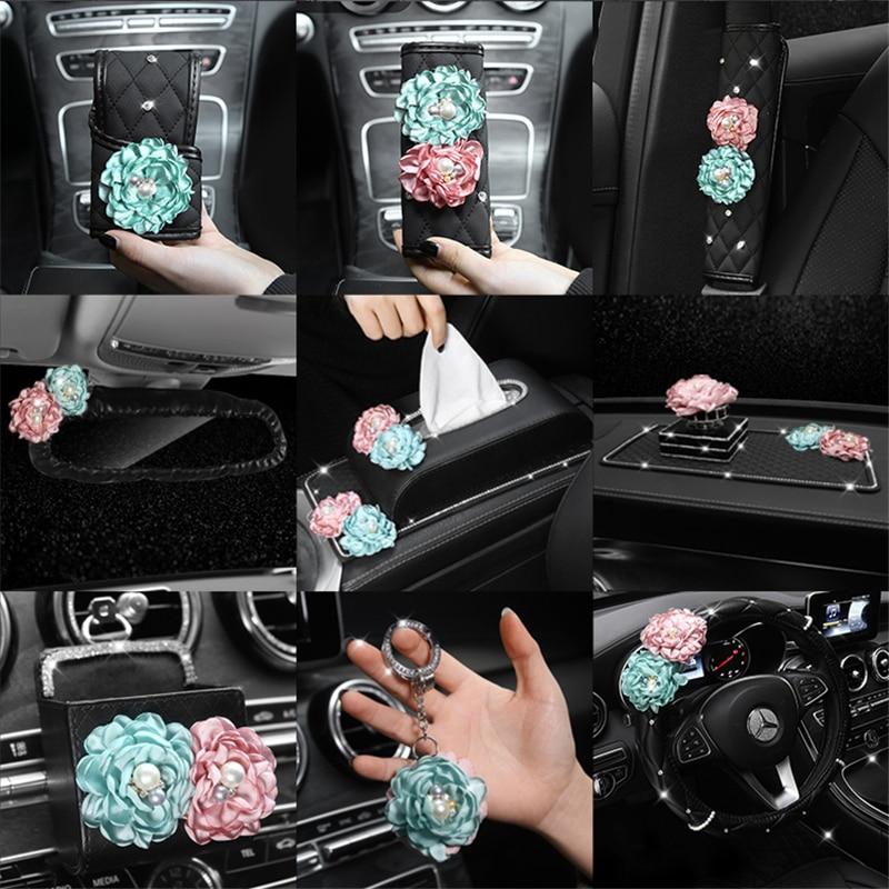 Rose Flower Car Steering Wheel Cover Car Neck Waist Pillow Universal Car Styling Headrest Cushion Rhinestone Tissue Box Women
