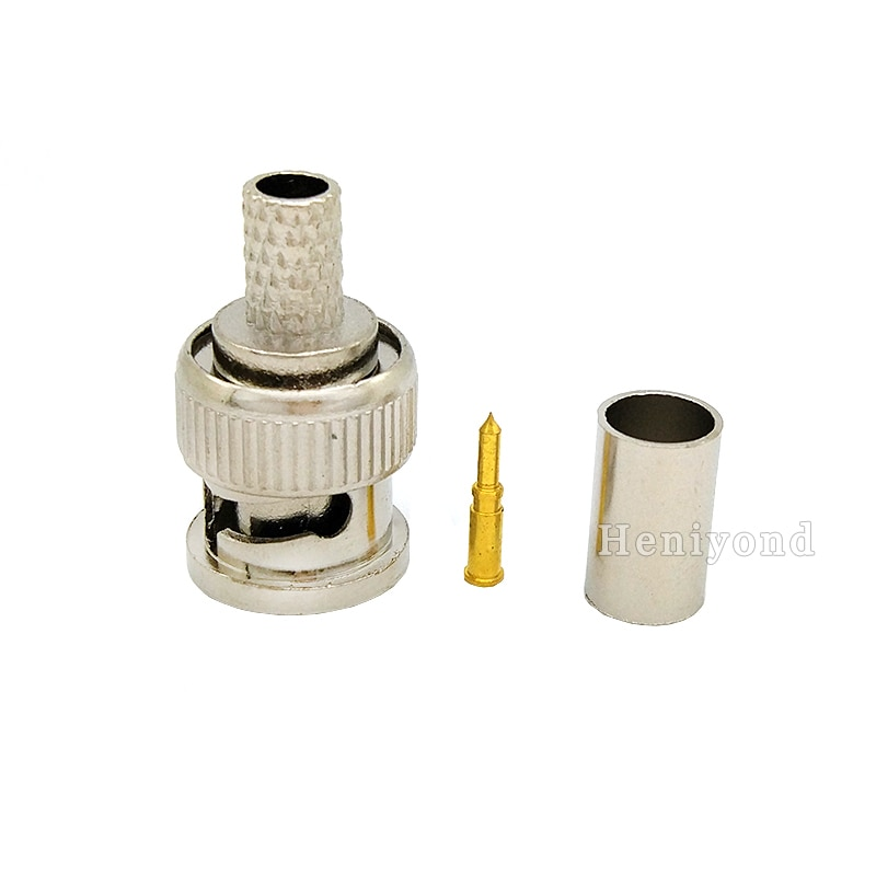 10PCS BNC male crimp plug for RG59 coaxial cable RG59 BNC Connector BNC male 3-piece crimp connector plug for cctv enlarge