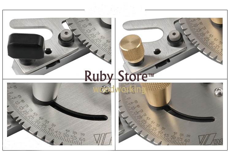 Miter Gauge + Aluminium Fence 450mm/600mm + Flip Stop, Brass/Aluminum Handle for you to choose