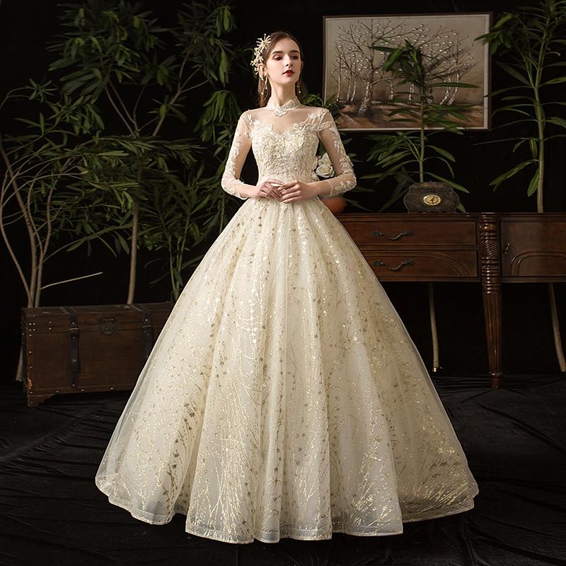 Mrs Win, Vestido De novia musulmán De encaje dorado, novedad De 2020, Vestido De novia De manga larga De cuello alto, Vestido De novia Vintage, Vestido De novia X