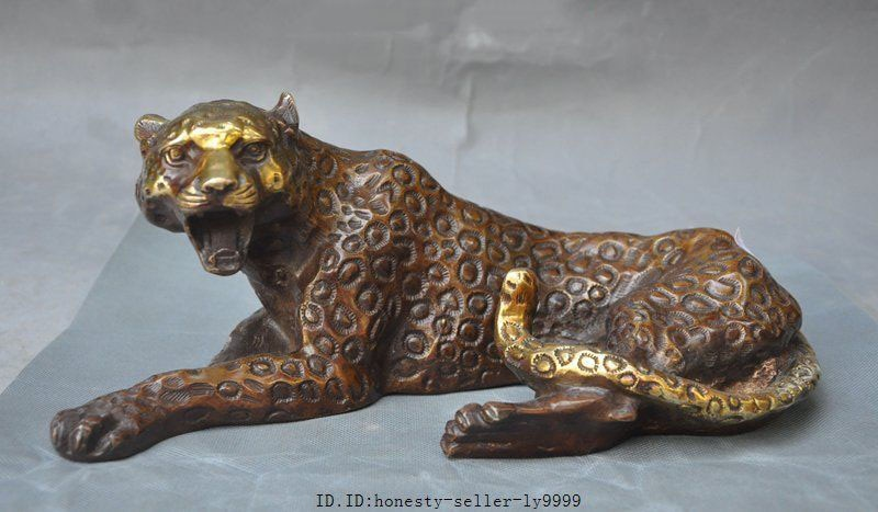 Artesanía estatua de bronce dorado fengshui animal salvaje bestia Pantera leopardo Cheetah estatua