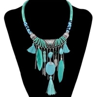 bohemian ethnic thread long tassel bib necklaces african string feather wing maxi necklace statement for women jelwery