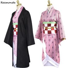 Anime démon Slayer: Kimetsu no Yaiba Cosplay Costume Kamado Nezuko Kimono robe sweat à capuche uniforme cheveux perruques femmes fille
