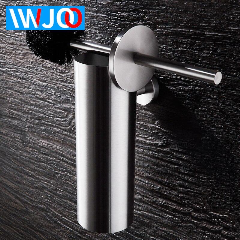 Conjunto de suporte de escova de vaso sanitário fixado na parede aço inoxidável fio desenho wc escova titular criativo moderno vaso sanitário tigela escova preto