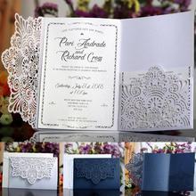Cartes dinvitation de mariage en dentelle   10 pièces, cartes de Table avec nom de mariage, cartes de Table, fourniture de cartes de mariage, couleur blanche bleue