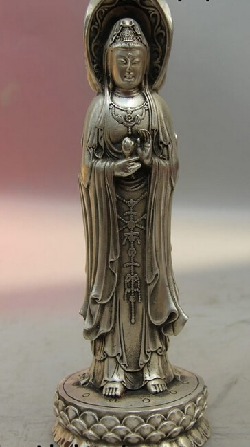 R0722 detalles sobre China Tibet dragón plateado tres lados Kwan-yin estatua de Bodhisattva Guanyin
