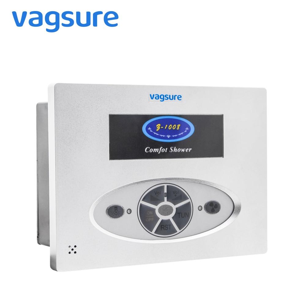 Sala de ducha cuadrado accesorios ducha FM Radio Control VENTILADOR de ventilación altavoz luz ordenador Control Panel ducha cabina controlador