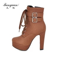 fanyuan 2019 large size 30 50 high heels platform women shoes woman lace up leisure ankle boots woman shoes lady footwear