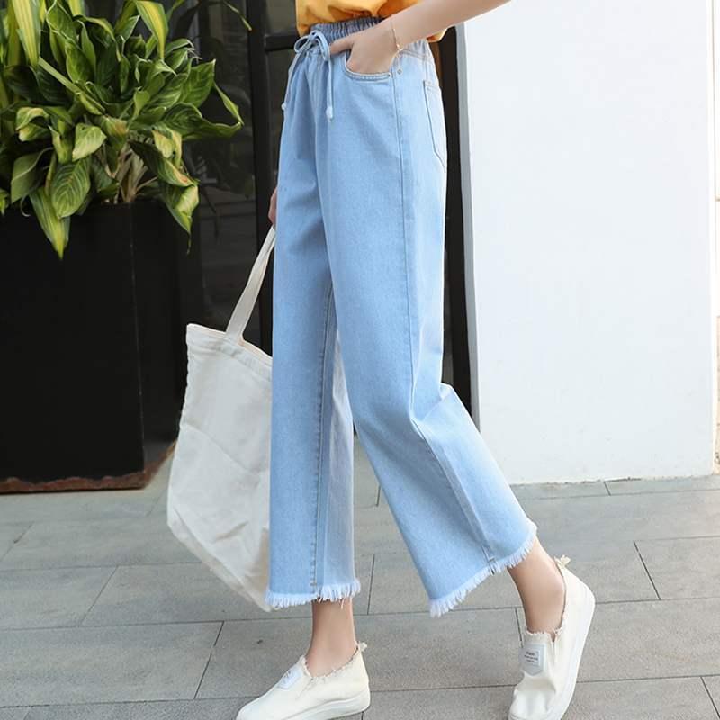 Женские джинсы с завышенной талией, расклешенные брюки с широкими штанинами, винтажные брюки из денима до щиколотки, женские джинсы стрейч ...