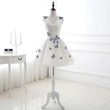 Robes de soirée Cocktail courtes col en v simples sans manches pas cher avec papillon robe de bal Mini robe de bal Simple Abiye Vestidos