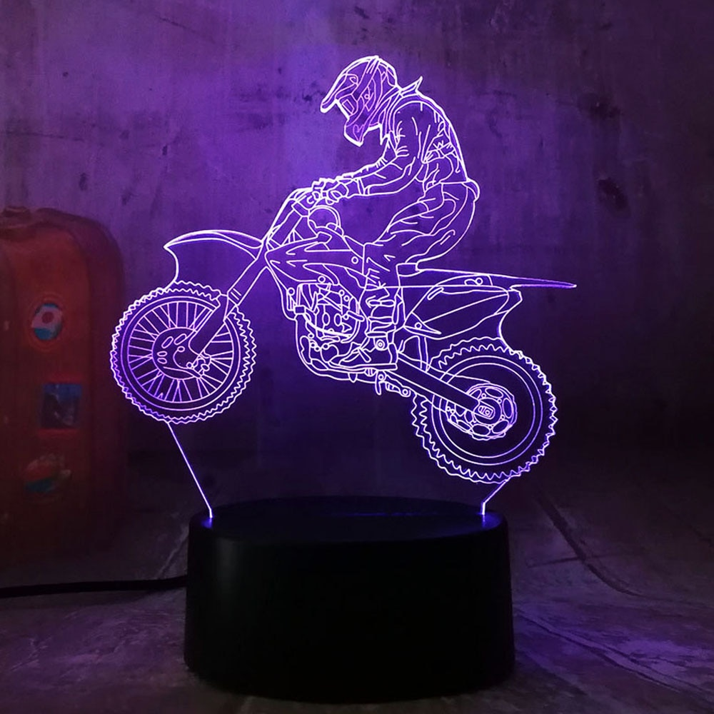 Amroe 3D Экстремальный мотоцикл LED крутой мальчик подарок ночник LED Настольная лампа RGB градиент ребенка день рождения новый год подарки