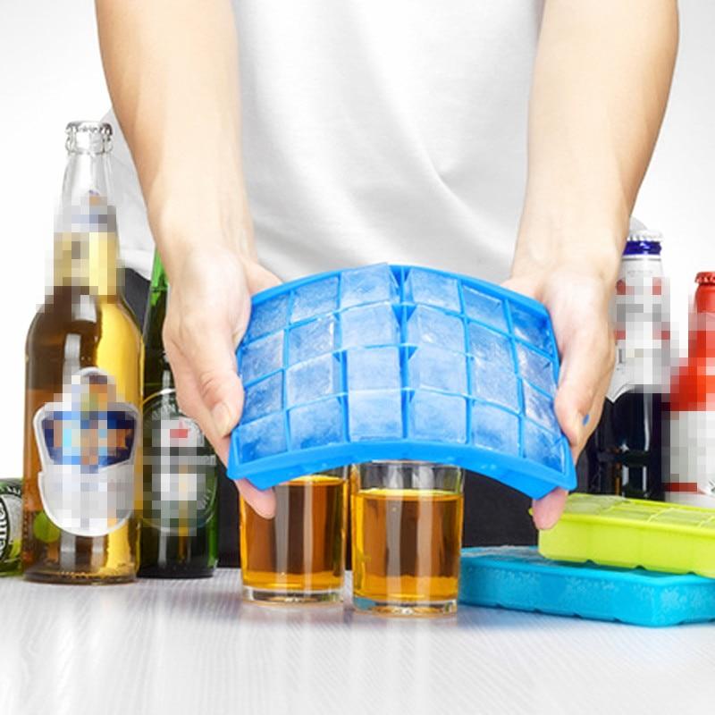 24 rejilla cubo de hielo molde cuadrado forma de hielo de silicona bandeja fácil liberación fabricante de cubitos de hielo fruta DIY hielo molde casa accesorios de cocina para Bar