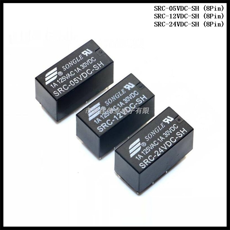 4 pçs/lote SONGLE Power Relay SRC-05VDC-SH / SRC-12VDC-SH / SRC-24VDC-SH 8Pin 5V 12V 24V 1A Tipo PCB
