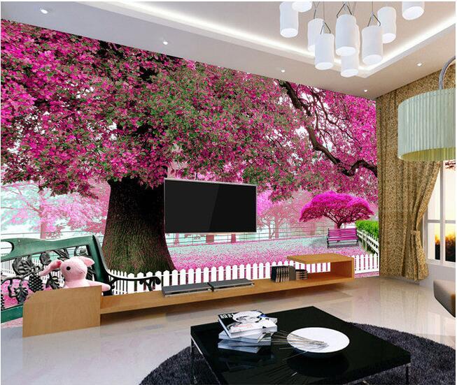 Papel pintado 3d mural personalizado no tejido 3d papel pintado de la habitación Big red forest park TV configuración pared pinturas 3d pared murales de papel