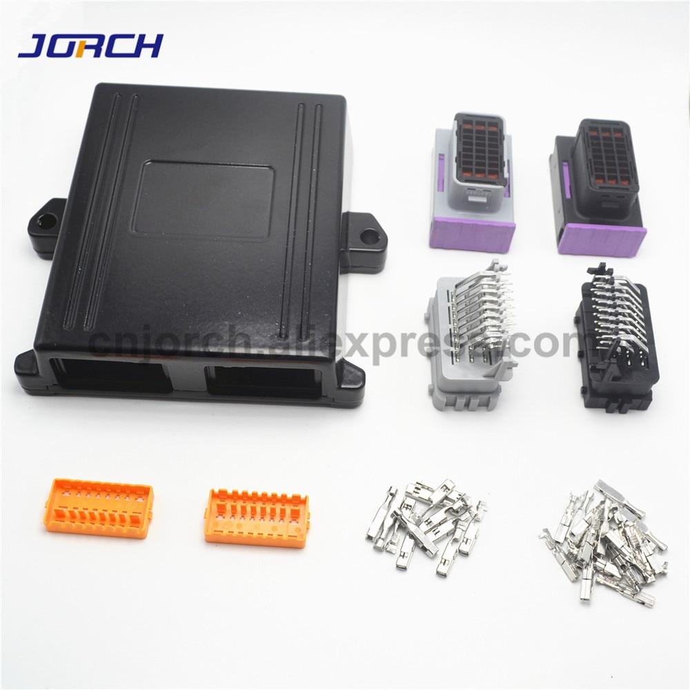 1 kits 24 pin way black aluminum 2 hole car lpg ecu controller case with matching connectors