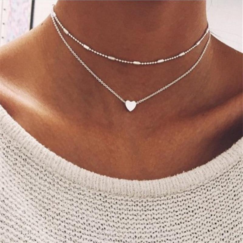 ZCHLGR gargantilla collar de Gargantilla para mujer oro Cadena de plata Collar de corazón de amor colgante en el cuello bohemio gargantilla collar Bisutería