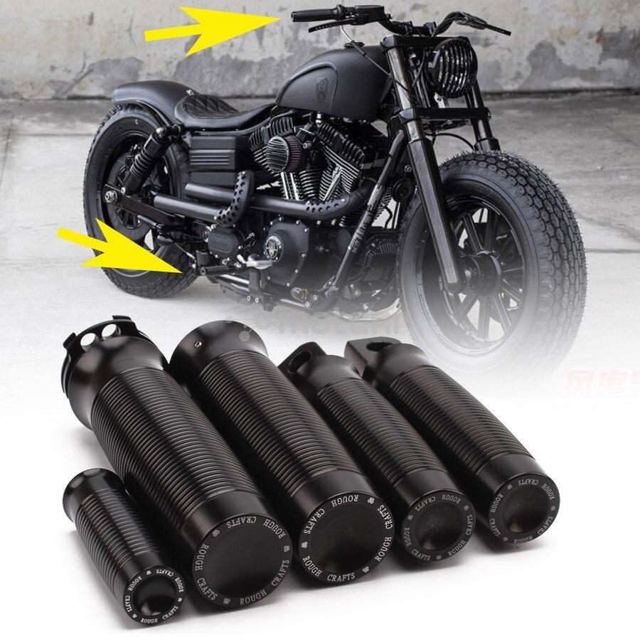 1 Juego de reposapiés de aluminio negro para motocicleta + apoyapiés de cambios + empuñaduras para Harley modelos de CABLE DUAL Custom Cafe Racer