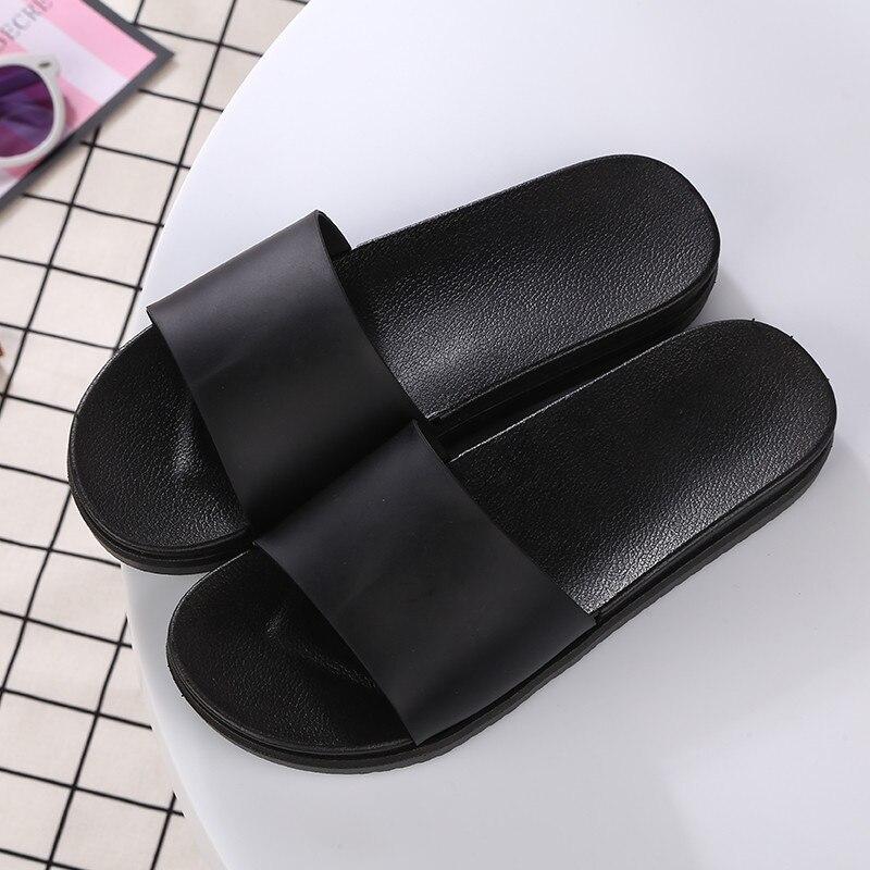 Zapatillas de playa de verano para mujer, sandalias de baño blancas Unisex, zapatos planos de interior negros, zapatos casuales femeninos, zapato femenino, talla 36-45