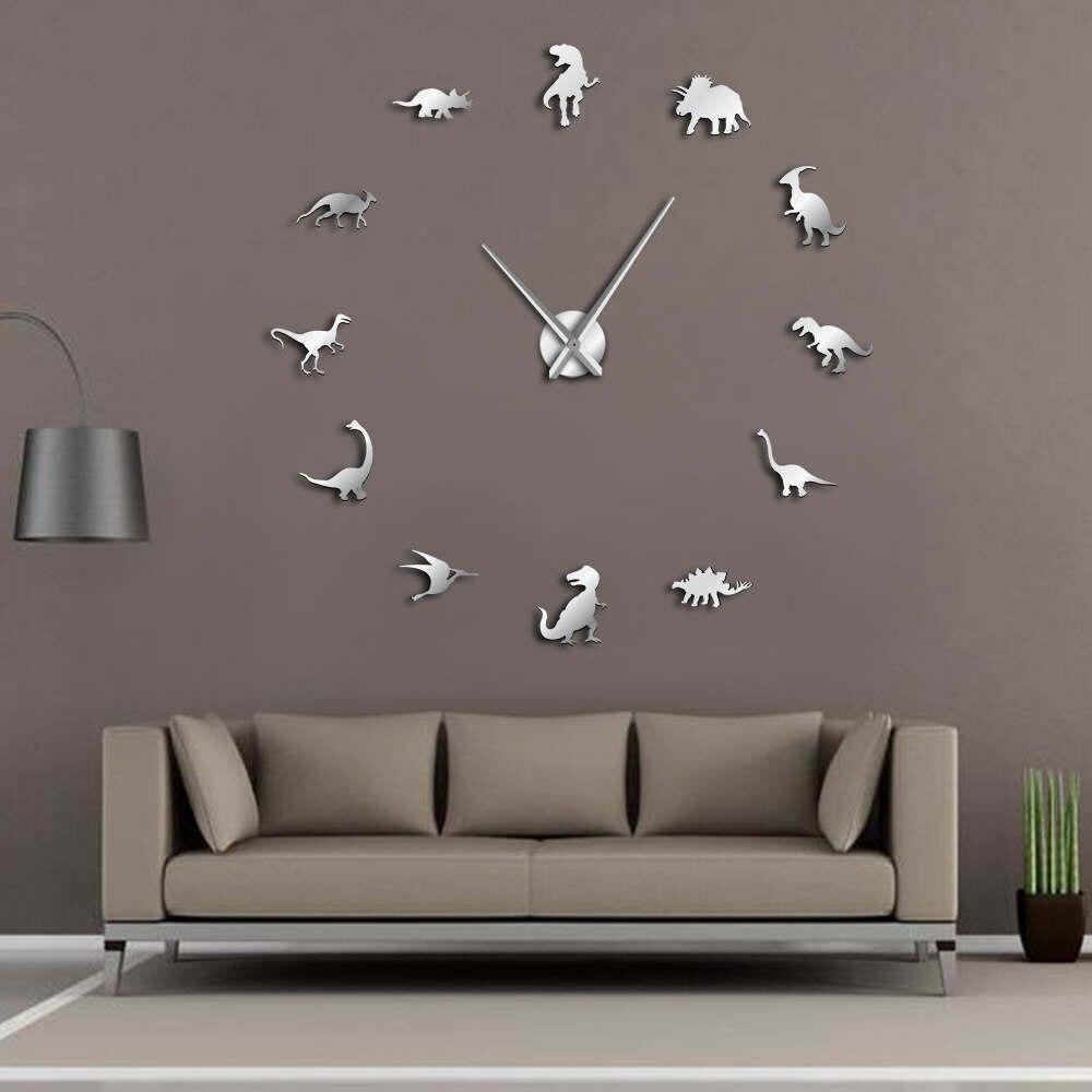 Jurassic horloge murale Art t-rex   Bricolage, grande horloge murale, décoration de chambre denfants, géant sans cadre, horloge murale moderne