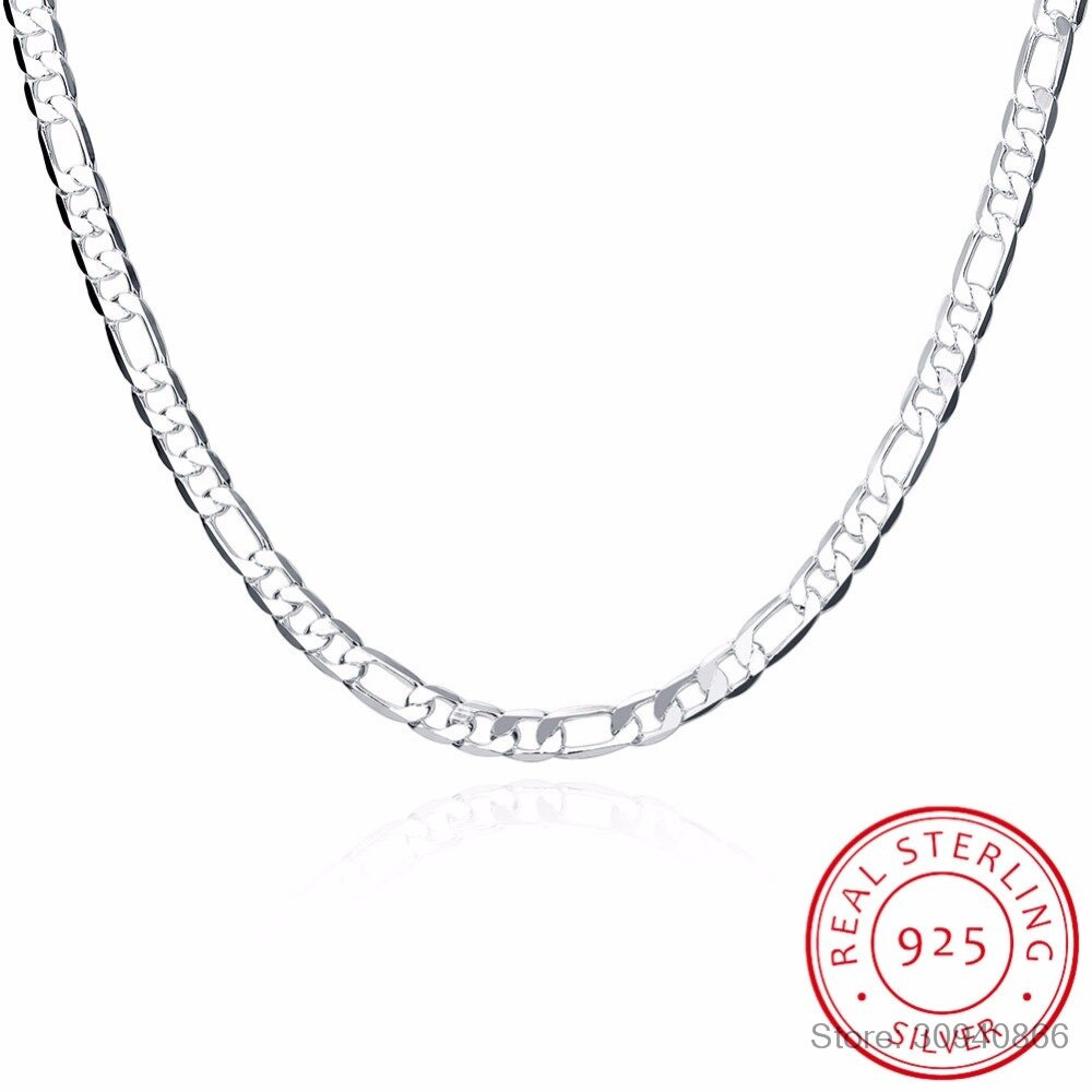LEKANI 925 Sterling Silver Men Necklace Jewelry Wholesale Silver 6MM  20 50cm Trendy Long Figaro Chain Necklace Fine Jewelry