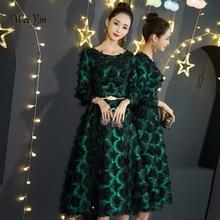 Weiyin nouvelles robes de soirée vertes dentelle thé longueur a-ligne élégant Fromal Graduation fête danniversaire robe de bal WY1295