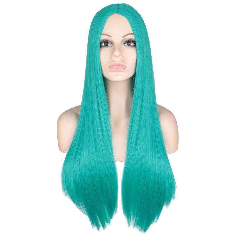 QQXCAIW peluca larga recta de la parte media para las mujeres de fiesta rubia naranja púrpura gris pelo resistente al calor pelucas de pelo sintético