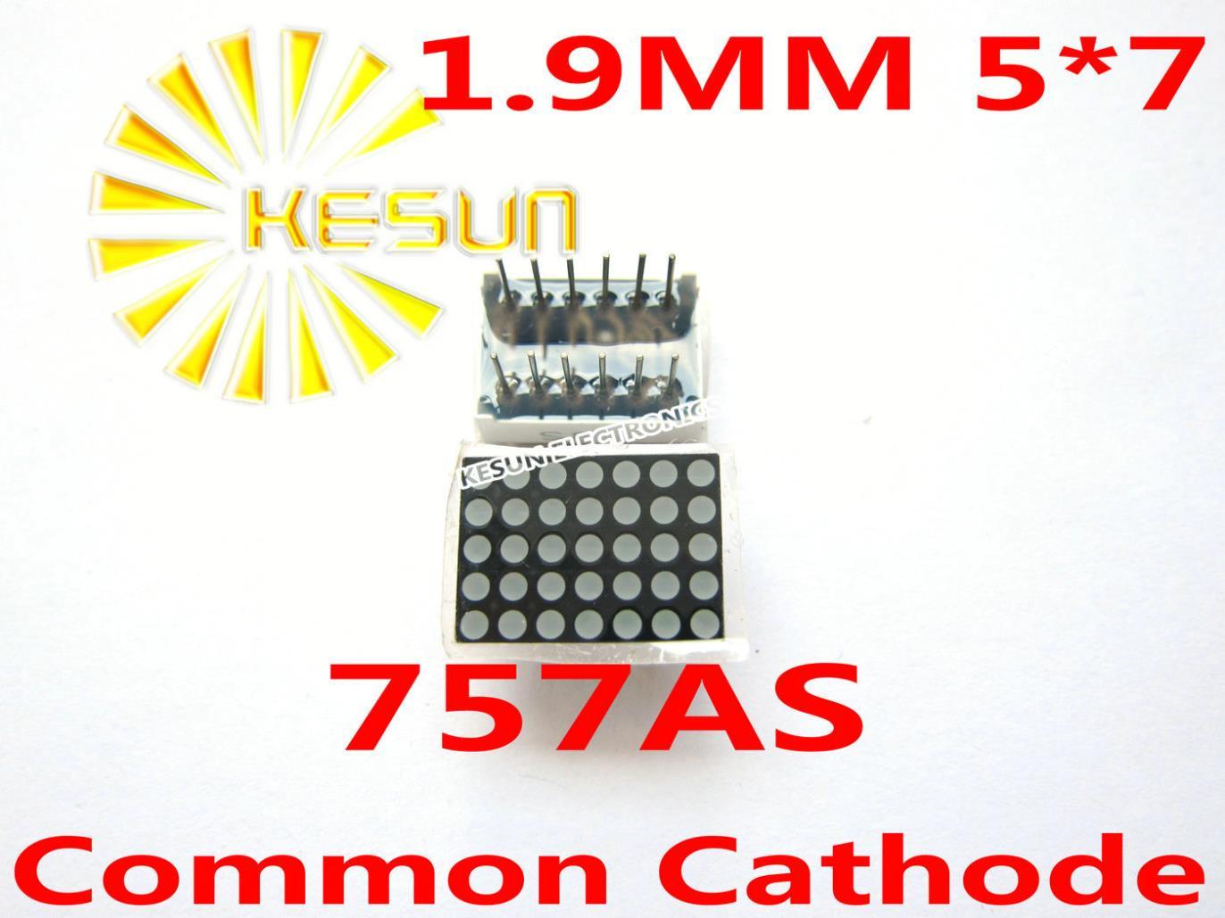 وحدة عرض LED ، 50 قطعة × 1.9 مللي متر ، 5X7 ، أحمر مشترك ، كاثود/أنود ، مصفوفة منقطة ، أنبوب رقمي ، 757AS ، 757BS