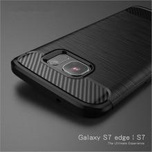 Voor Samsung Galaxy S7 S6 Rand Case Hybrid Tpu Carbon Fiber Geborsteld Beschermende Siliconen Soft Case Voor Samsung S8 S9 plus Cover