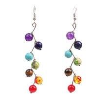 Frauen Ohrringe 7 Chakra Perlen Yoga Reiki Regenbogen Runde Natürliche Stein Aventurin Lange Tropfen Farbe Ohrringe