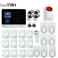 SmartYIBA     kit de capteurs de systeme dalarme domestique sans fil  wi-fi  GSM  RFID  clavier tactile LCD  anti-cambriolage  voix francaise et espagnole