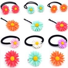 Nieuwe 1 Pc Kinderen Leuke Haar Clip Haarspeld Meisjes Kleurrijke Zon Bloem Haar Band Elastische Haar Touw Hoofddeksels Vrouw Accessoires 5 Kleuren