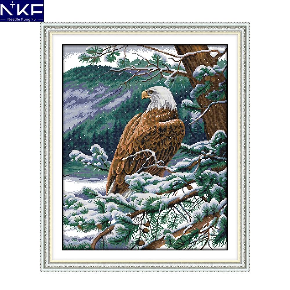NKF Um Com Vista Para Águia 11CT14CT Carimbado Cross Stitch Kits DIY Needlework Bordado Ponto Cruz Chinesa Define para a Decoração Da Casa