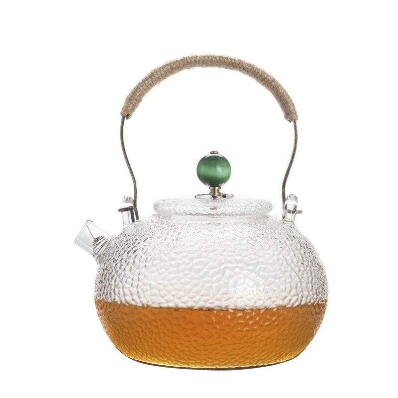 Tetera de cristal con filtro de acero inoxidable, tetera creativa art nouveau de 750 ml, tetera grande con asa de kungfu chino