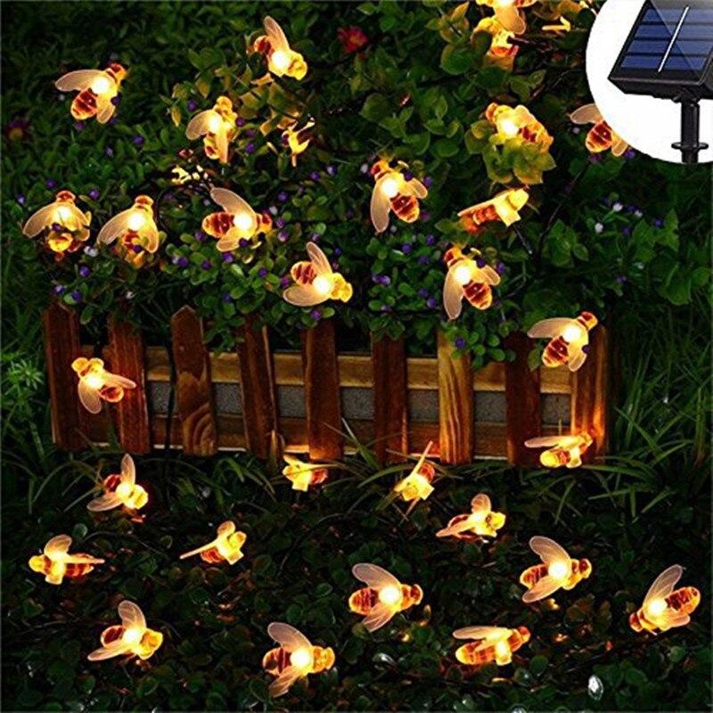 Waterproof Solar Lights String Led Honey Bee Fairy Light For Outdoor Garden Fence Summer Night Light Lamp Wedding Party Decor