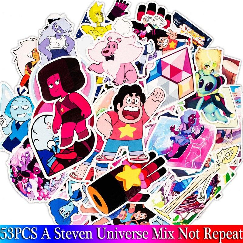 Набор наклеек Steven Universe из ПВХ, 53 шт. в упаковке, игрушечные наклейки для багажа, скейтборда, ноутбука, мотоцикла
