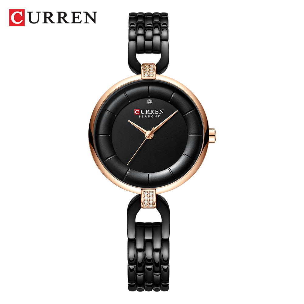 CURREN Brand Womens Dress Watches Rhinestone Ultra-Thin Golden Black Dial Quartz Wristwatch Steel Chain Bracelet Relogio Clocks enlarge