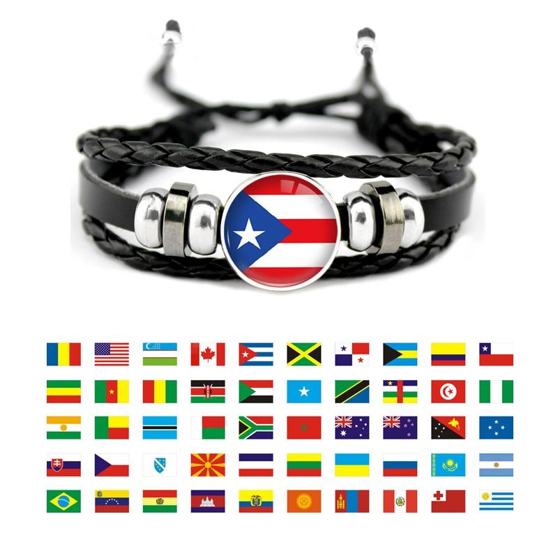 Pulsera de cuero con la bandera de Venezuela, Salvador, Trinidad y Tobago,...