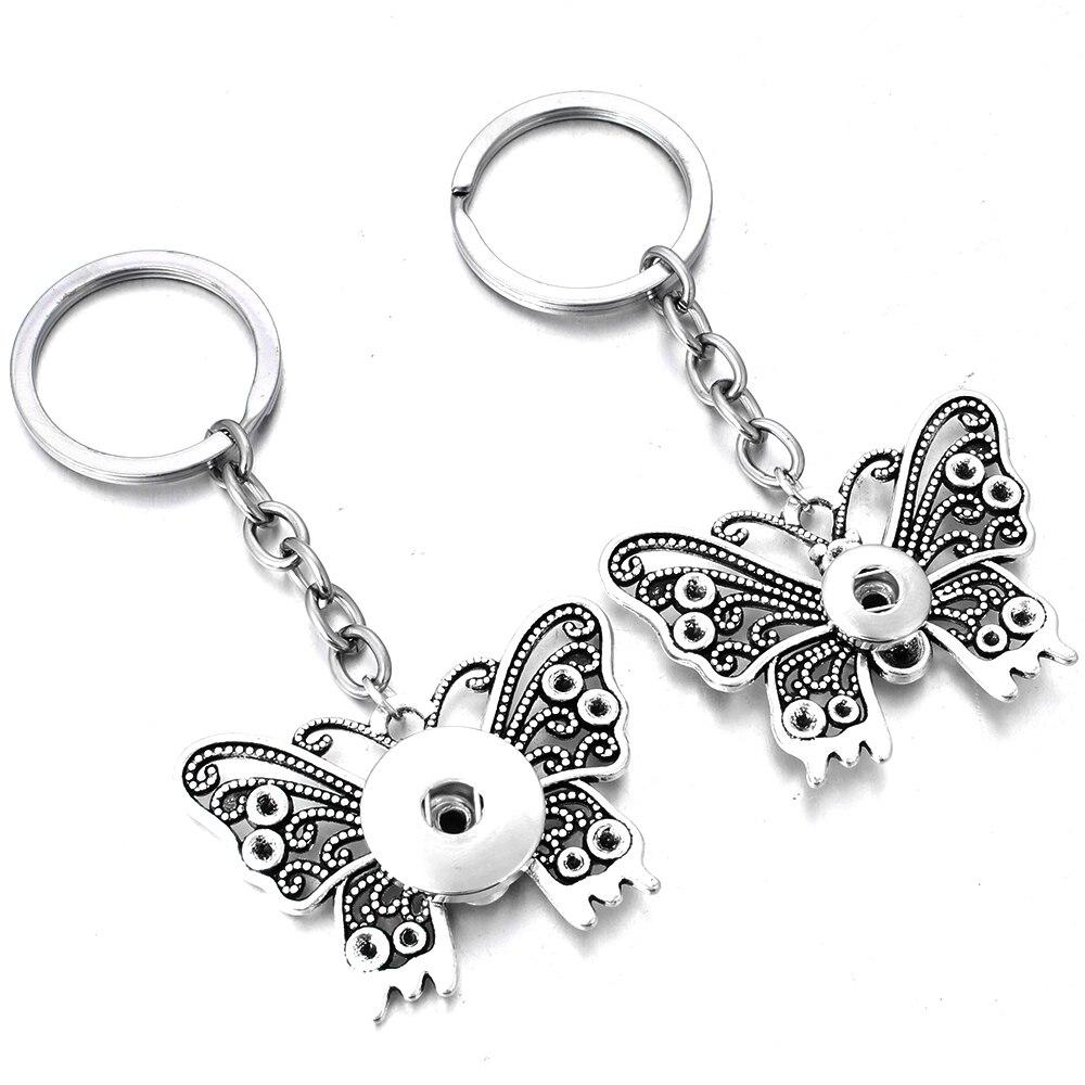 ¡Novedad! llavero con dije de mariposa a presión de estilo Vintage, llavero con botones a presión de 12mm y 18mm para mujer