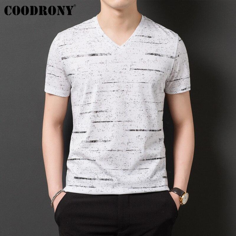 Camiseta de COODRONY para hombre, Streetwear, camiseta a rayas con cuello en V, camiseta de manga corta, ropa de hombre, 2019 de algodón de verano, camiseta Homme S95132