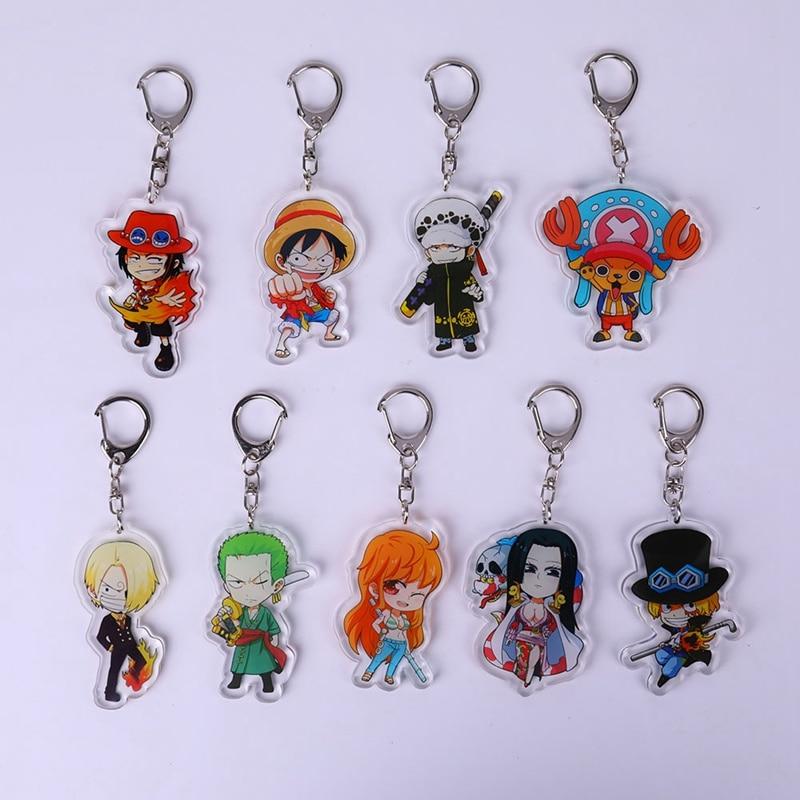 Llavero de acrílico de una pieza de dibujos animados Luffy Zoro Sanji Ace Chopper, colgante, Llavero, Llavero de regalo circundante, Llavero