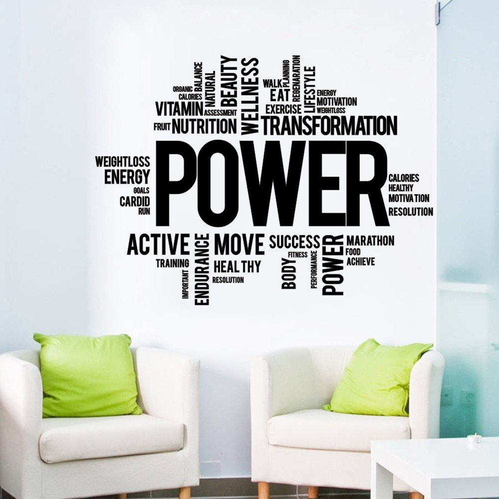 Motivación citas poder entrenamiento pegatina de palabra para pared gimnasio inspirador citar...
