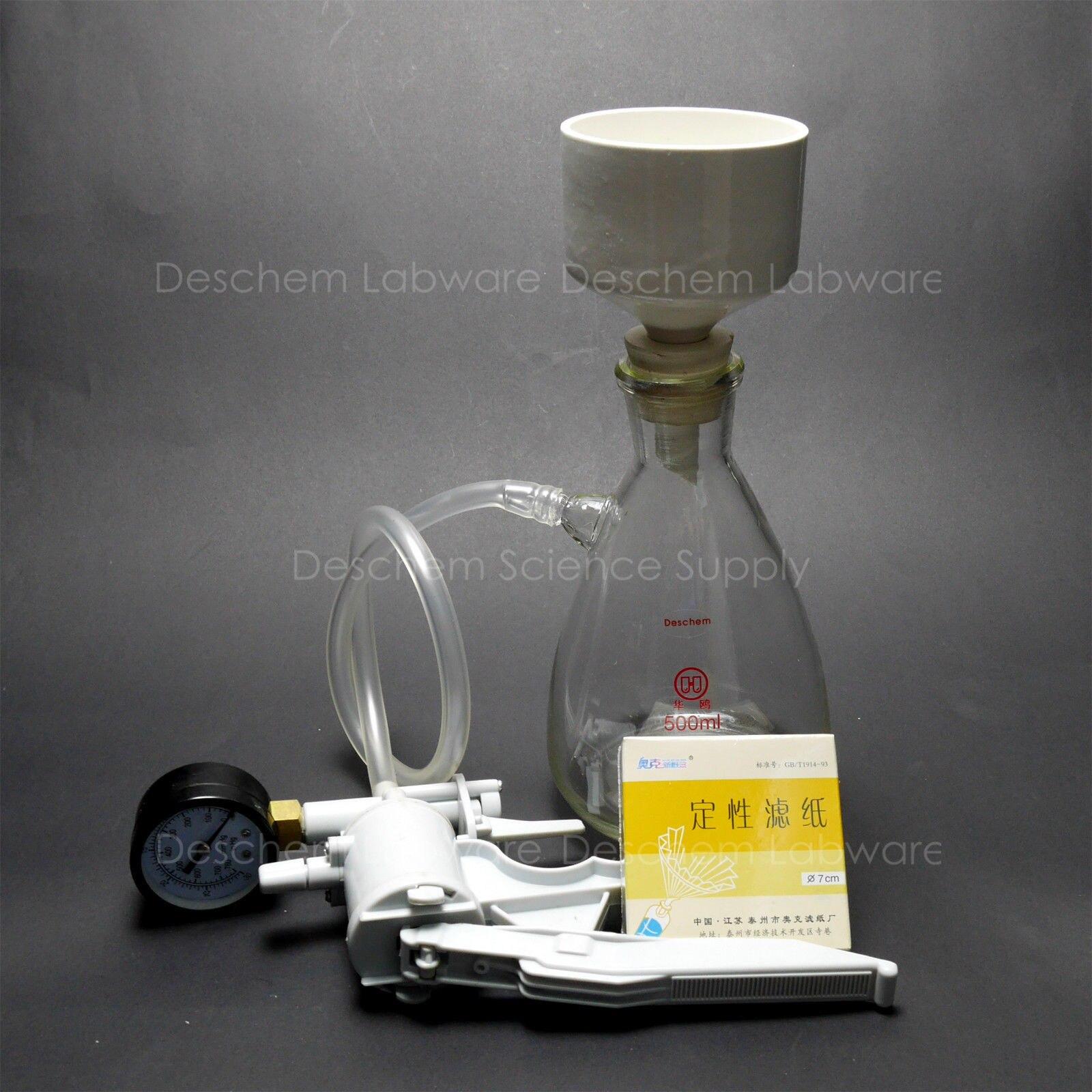500 ml, Kit Buchner Funil Filtração, Frasco De Sucção, Lidar Com Bomba de Vácuo, Filtro Pape