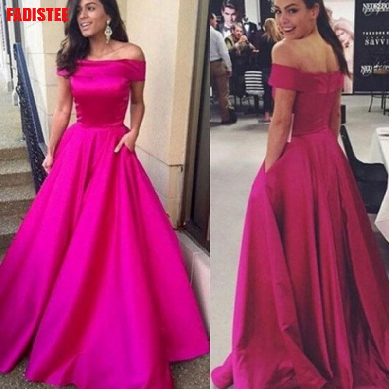 Off The Shoulder Long Dress Evening Dress Lace Robe De Soiree Longue Formal Dress Burgundy A-line Simple Satin Pocket 2019