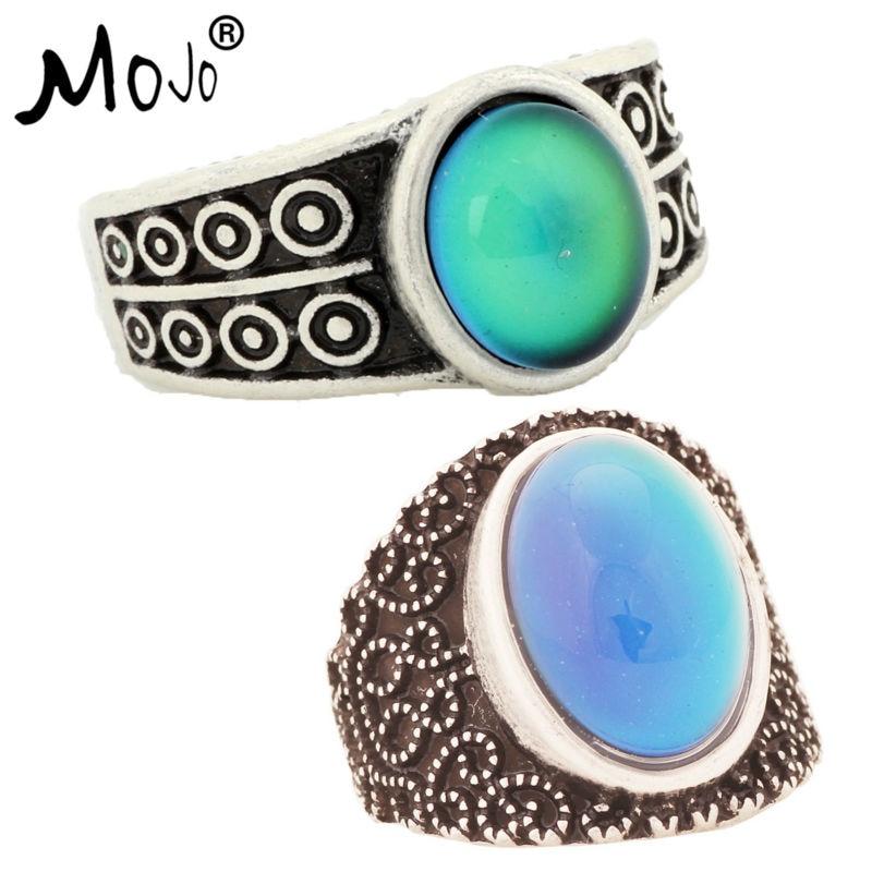 2 piezas Vintage Bohemia cambio de Color Retro anillo de humor sensación de emoción anillo cambiante Control de temperatura anillo para mujer 007- 005
