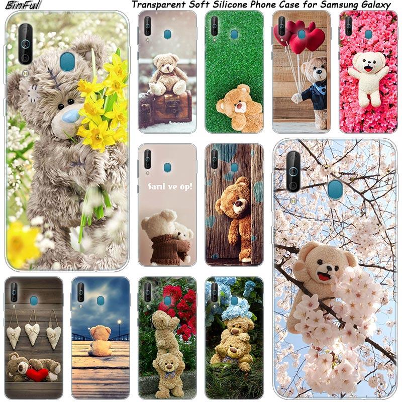 Caliente lindo oso de peluche de regalo de teléfono de silicona funda para Samsung Galaxy A80 A70 A60 A50 A40 A40S A30 A20E A2CORE M40 Nota 10 9 8 5
