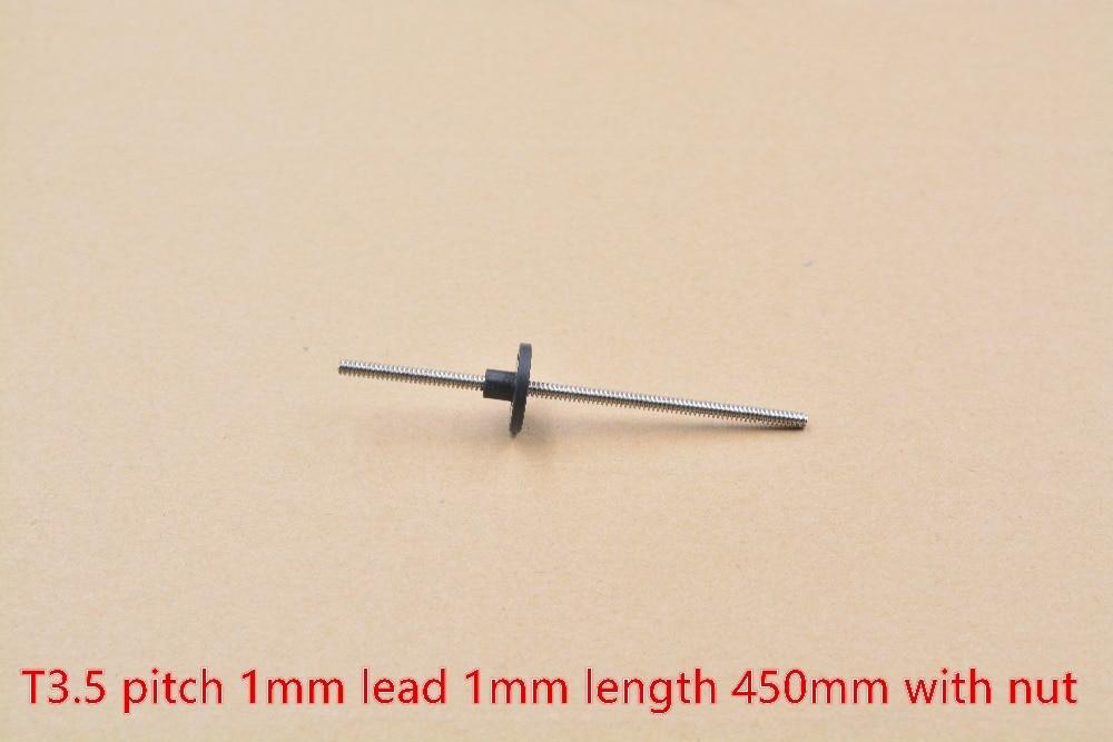 T3.5, 3,5mm, tornillo de 450mm de longitud, 1mm de pico de plomo, trapezoidal de acero inoxidable 304 con tuerca de POM, 1 Uds.