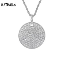 mathalla new round circle pendant iced cubic zirconia bling fashion hip hop jewelry mens wear womens jewelry