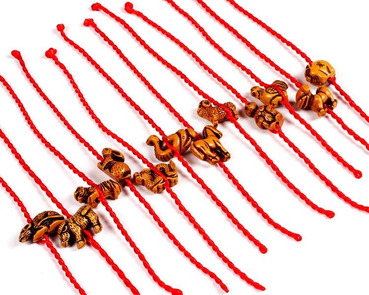 IMixBox браслет с Красной веревкой в виде животных 12 китайских знаков зодиака рыба собака лошадь петух овца бык змея мышь тигр обезьяна рыба кр...
