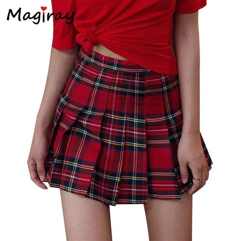 Preppy Harajuku A-Line Mini Plaid Skirt Girl Ball High Waist Pleated Sailor Korean Kawaii Sweet School Uniform Short Skirt Skort