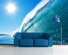 [Self-Adhesive] 3D Sun Blue Ocean Wave 065 Wall Paper mural Wall Print Decal Wall Murals